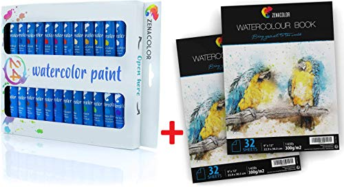 Set of 24 Watercolor Paint & 64 Pages Paper Pad 9' x 12' - 24 Tubes Pack of 24x12mL - 2 x 32 White Sheets 140lb 300g for Watercolor Paint and Pencils - Non Toxic Paint, Dense Pigments and Fast Drying