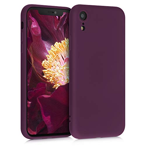 kwmobile Slim Hülle kompatibel mit Apple iPhone XR - Hülle Silikon Handy - gummiert - Handyhülle Bordeaux Violett