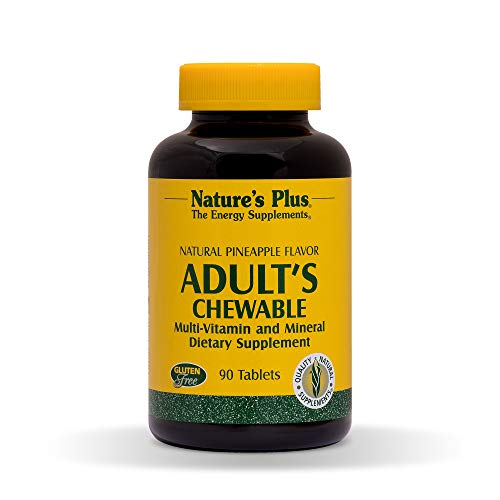 NaturesPlus Adult's Chewable Multivitamin - 90 Vegetarian Tablets - Pineapple Flavor - Natural Whole Foods Supplement for Overall Health, Energy - Gluten-Free - 90 Servings