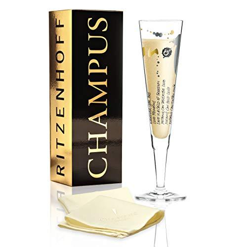 RITZENHOFF Champus Champagnerglas von Annet Wurm, aus Kristallglas, 200 ml, mit edlen Gold- und Platinanteilen, inkl. Stoffserviette