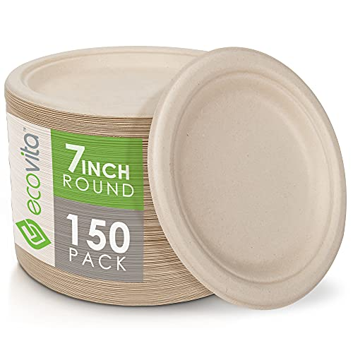 100% Compostable Paper Plates [7 in.] – 150 Disposable Plates Eco Friendly Sturdy Tree Free Liquid and Heat Resistant Alternative to Plastic or Paper Plates by Ecovita