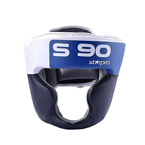 Starpro S90 Protector de Cabeza   Cuero Maya Hide   Blanco y Negro   Protección para la Cabeza y Las mejillas para Sparring en Boxeo, Muay Thai, Kickboxing y Lucha   Hombres y Mujeres
