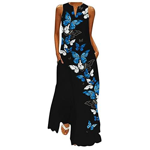 Schmetterling Druck Kleid Lässiges Elegantes Kleid Langes Strandkleid Gestreiftes Sommerkleid Ärmellose Maxikleid V-Ausschnitt Kleid Lose Luftiges Sommerkleid