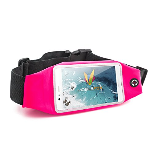 mobilefox®® mobiele telefoon sport heuptas platte, waterbestendige jogging loop riem tas met reflectoren, hoofdtelefooningang en extra vak 4,7 & 5,5 inch