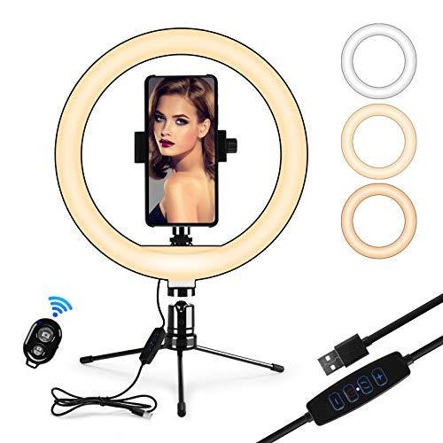 IREGRO Anello luminoso a LED da 10' con supporto per treppiede e supporto per telefono e telecomando Bluetooth con 3 modalità di illuminazione dimmerabili e 10 livelli di luminosità per streaming live