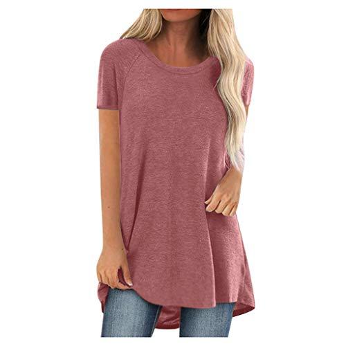 Damen T-Shirt Sommer Kurzarm Blumen Shirt Tunika Pusteblume Druck Tshirt Lose Rundhals Longshirt Frauen Bluse Oberteile Lang Tops