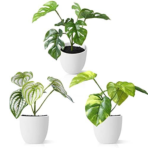 CROSOFMI Plantas Artificiales Interior 15 cm Mini Plastico Macetas Pequeñas Decorativas Plantas Falsas Habitacion Modernos Decoracion (3 Pack)