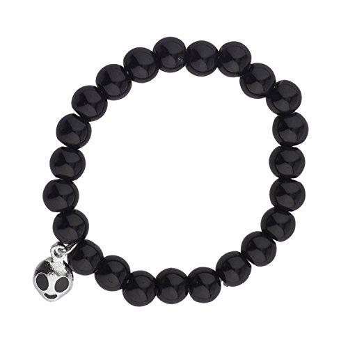 LUX ACCESSORIES Black Beads Pearl Prosperity Silver Alien Head Stretch Bracelet