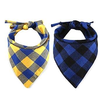 CHUKCHI Lot de 4 bandanas à carreaux réglables pour chien - Écharpe lavable - Bandana réversible en coton avec corde - Convient pour les chiens de petite, moyenne et grande taille