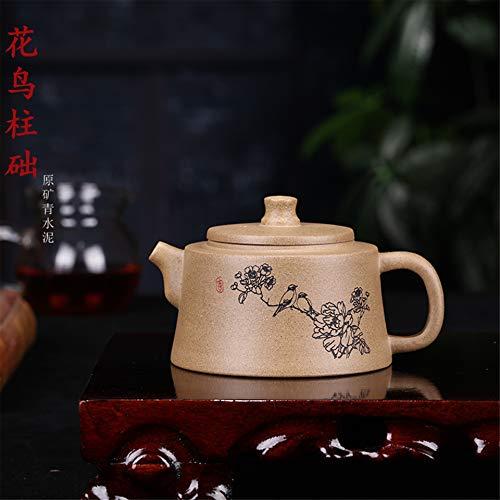ZHANGJINPING Pure erts theepot Beroemde handsnijwerk en blauwe bloemen Plint Pleister Pot theepot Paarse modder