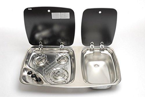 Smev 3-pits Kookplaat & Spoelbak Combinatie-eenheid 2 Glazen Deksels