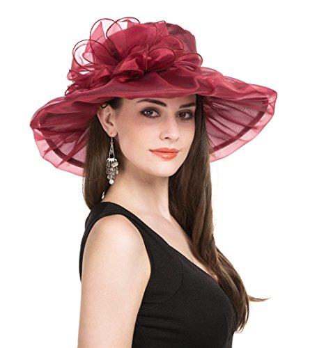 SAFERIN Women's Organza Church Kentucky Derby Hat Feather Veil Fascinator Bridal Tea Party Wedding Hat
