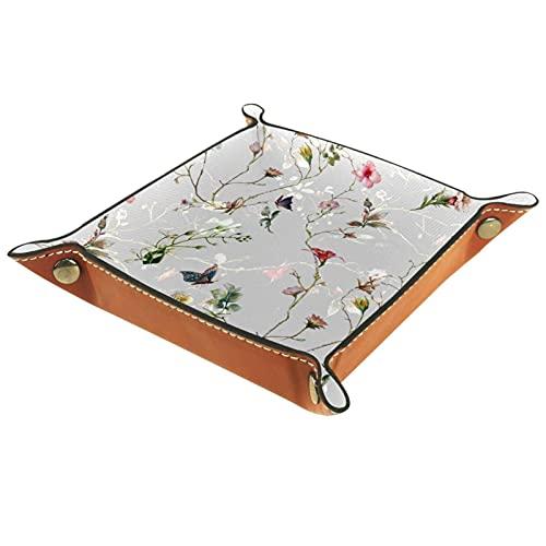 Bandeja de piel con diseño de mariposa y flor, para guardar monedas, joyas, cubos, cartera, para decoración del hogar y la oficina
