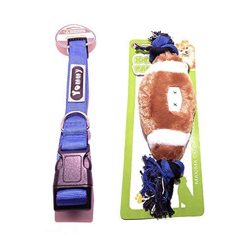 Pack » Collar para Perros Grandes (40cm a 60cm de diametro) Resistente Nylon con Acolchado Interior máximo Confort + Peluche balón Rugby con Cuerda para Masticar (L ( 40CM-60CM ), Azul)