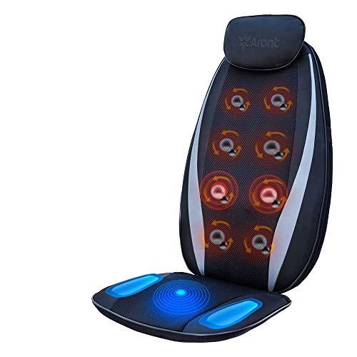 Aront Shiatsu Massageauflage mit Wärmefunktion, Vibrationmassage Sitzauflagen mit 3 Massagezonen, Massagegerät für Nacken Rücken Entspannung für Haus Büro Auto, Vatertags Geschenk