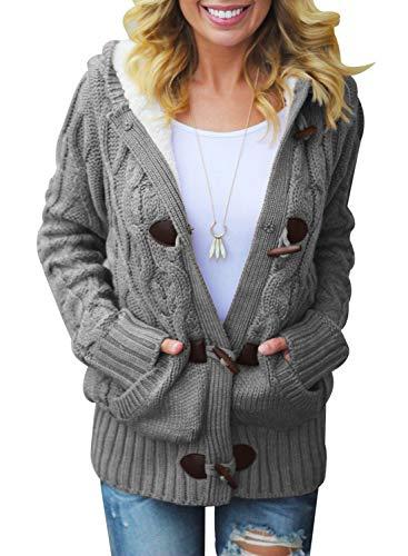 Dokotoo Femme Casual Manteau Chaud Hiver Veste à Capuche Gilet Chandail Cardigan en Tricots ,A-gris,M