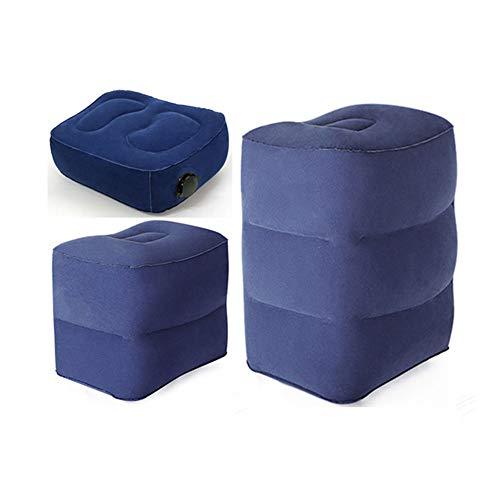Unbekannt 3er-Pack Beflockung Aufblasbare Travel Leg Kissen, für Flugzeuge Autos Busse Züge Büro, EIN Flachbett für Kinder und Kleinkinder Schlafen auf Langstreckenflüge Reisen,Blau
