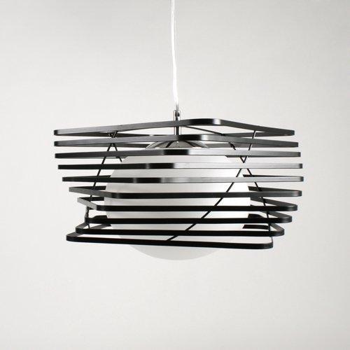 Hängeleuchte Deckenleuchte Pendelleuchte Deckenlampe Opalglas Weiß Milchglas lampe Leuchte Schwarze Streifen von Design61