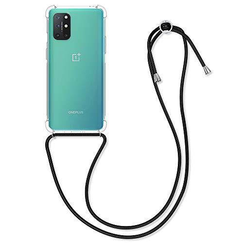 kwmobile Schutzhülle kompatibel mit OnePlus 8T - Hülle mit Kordel zum Umhängen - Silikon Handy Hülle Transparent Schwarz