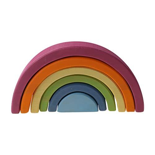 chenpaif Pikler Triangle, 6pcs Extra Large Tunnel Tunnel Stacker Pikler Triangle Toy Juguetes de Madera para niños Rompecabezas para Escultura Edificio 6 Bloques de Colores Macaron