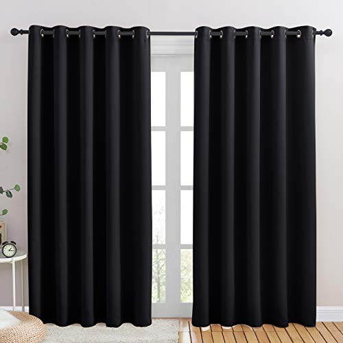 NICETOWN Blackout Draperies Window Curtain Panels, Autumn/Winter Thermal Insulated Solid Grommet Blackout Curtains/Drapes for Cafe (Set of 2, 70 inches by 84 inches, Black)