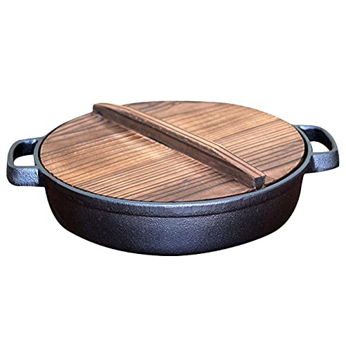 Handmade Deep Cast Skillet 10.92inch Cast Electric Skillet with Wooden Cover