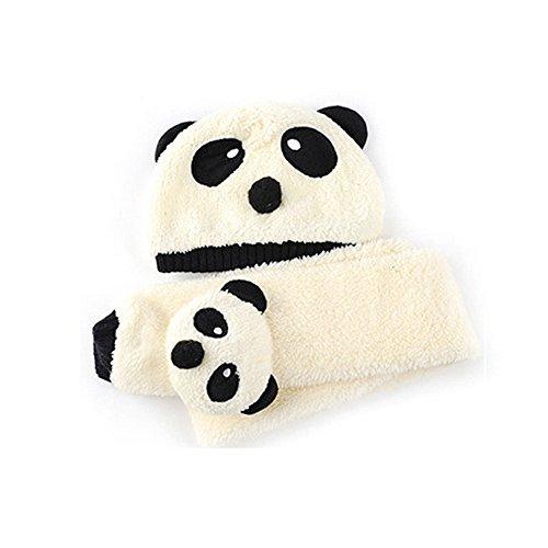 Fablcrew Schal Hut Hellgelber Cartoon Panda Gestrickte Plüsch Mütze Schal Set Geeignet für Kinder im Winter warm zu halten