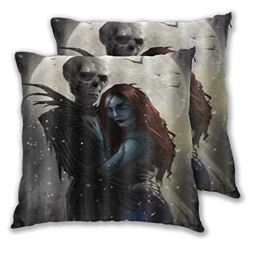 ELIENONO Juego de 2 Decorativo Funda de Cojín Mr Skull y Mrs Vampire Bride Love Theme Funda de Almohada Cuadrado para Sofá Cama Decoración para Hogar,50x50cm
