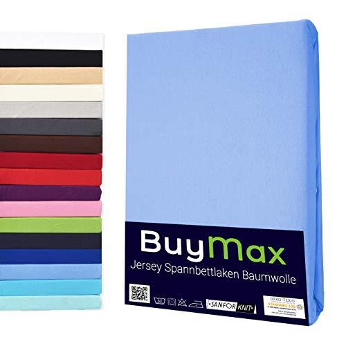 Buymax Spannbettlaken Kinderbett 60x120-70x140 cm Spannbetttuch Bettlaken für Beistellbetten Babybett 100% Baumwolle Jersey Matratzenhöhe bis 15 cm, Blau Hellblau