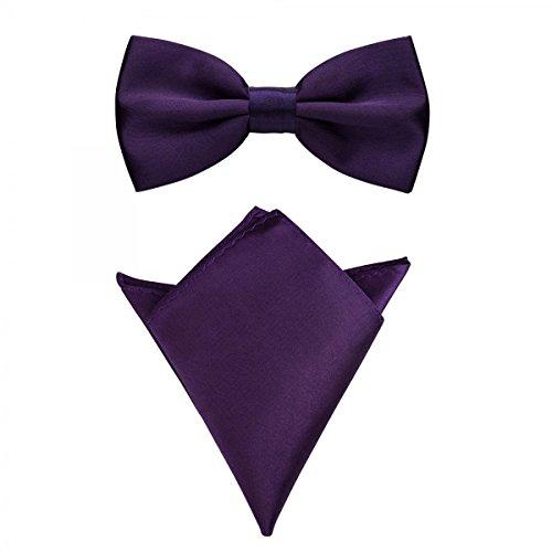 Rusty Bob - Fliege mit Einstecktuch in verschiedenen Farben (bis 48 cm Halsumfang) - zur Konfirmation, zum Anzug, zum Smoking - im 2er-Set - Lila