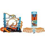 Hot Wheels Megagaraje Coches Juguetes (Mattel Ftb69) + Track Builder, Tramos De Pista con Vehículo Incluido, Accesorios para Pistas De Coches De Juguete (Mattel Bht77) , Color/Modelo Surtido