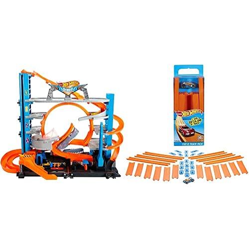 Hot Wheels Megagaraje Coches Juguetes (Mattel Ftb69) + Track Builder, Tramos De...