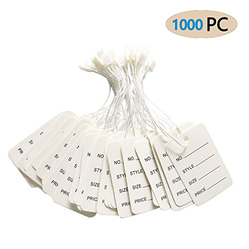 FORNY Price Tags,1000PC Strung Merchandise Marking Labels(2.6x1.6 Inches) (1000PCS, White)