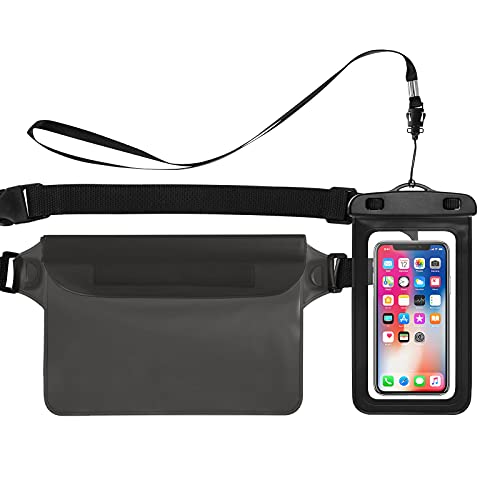 Bigqin Estuche Impermeable para teléfono móvil, Paquete de 2 Bolsas de Cintura Seca para teléfono móvil Compatible con el Modelo de teléfono de 6.5 Pulgada, Negro + Gris