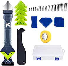 Tool Kit For Caulk,Multifunction Caulk Remover Residue Remover Scraper,Durable Tools & Home Improvement Set,And Equipped With Caulking Gun Nozzle,Glass Glue Angle Scraper,Caulking Tool Kit. (Suit)