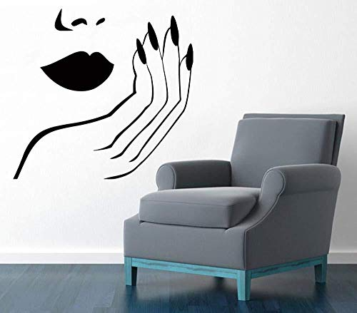 Nail Salon Girl Manucure Wall Sticker PVC Nail Bar Wall Decal Nail Salon Room Decor 45x78 cm