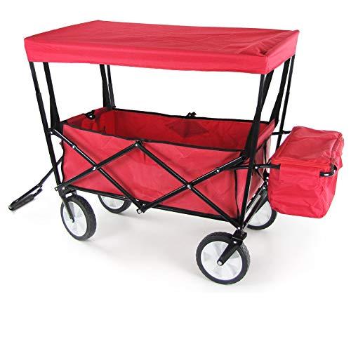 RAMROXX 34166 Faltwagen Handwagen Bollerwagen faltbar mit Dach und Tasche bis 80kg Rot