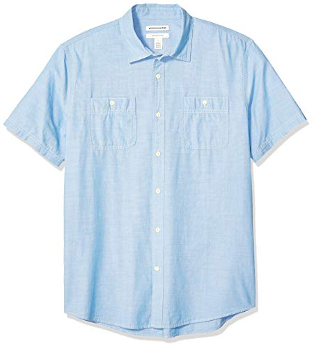 Amazon Essentials, Herren-Chambray-Hemd, Regular-Fit, kurzärmelig, Light Blue, US L (EU L)