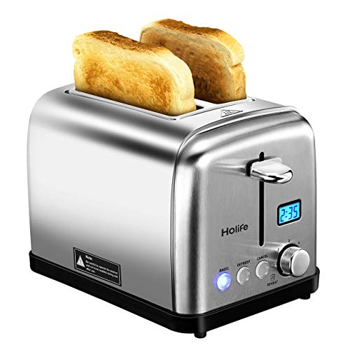 2 Slice Toaster, HOLIFE Stainless Steel Toaster Two Slice Bagel Toaster with 6 Bread Shade Settings, Bagel/Defrost / Reheat/Cancel Function, Extra Wide Slots, Removable Crumb Tray, 900W, Silver