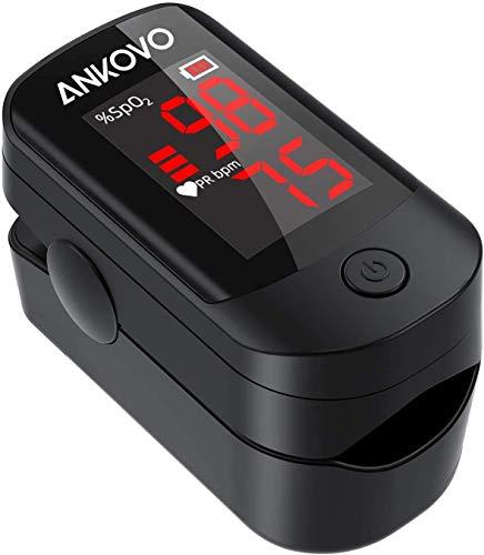 ANKOVO Pulsioxímetro de Punta de Dedo, Monitor de Saturación de Oxígeno en la Sangre para la Frecuencia del Pulso y el Nivel de SpO2, Pulsioxímetro Portátil con Gran Pantalla LED