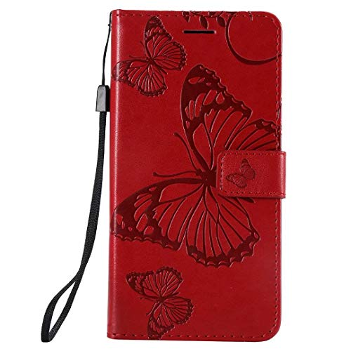 Nokia 2.4 Case, Flip Premium PU Leather Shockproof Wallet Phone Cases Embossed Butterfly Folio Slim Fit Magnetic Protective Cover TPU Bumper with Stand Card Holder Slots for Nokia 2.4 red