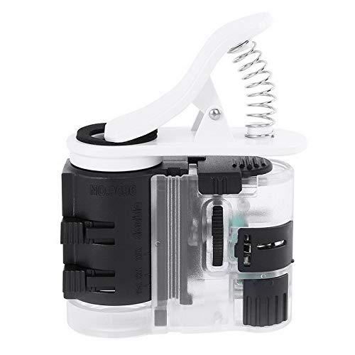 QINGJIA Lente de Aumento 60-100X Clip-On Tipo Lupa de la Lupa del microscopio con el teléfono Incorporado LED Linterna de la luz UV for Universal Mobile Lectura/Obeservación/Reparación