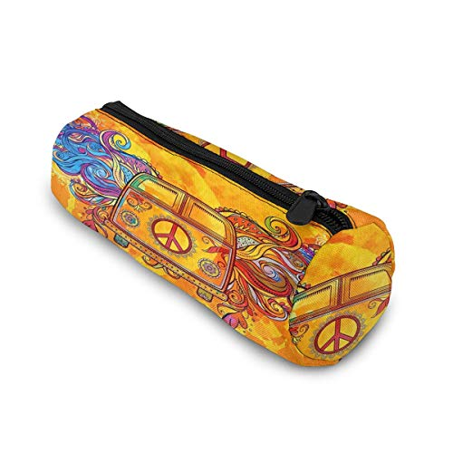 Hippie Vintage Car A Mini Van with Peace Sign Cylinder Pencil Case Holder Zipper Pen Bag Pouch Students Stationery Cosmetic Bag