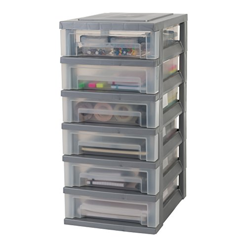IRIS 135732, Schubladenschrank / Schubladenbox / Rollwagen / Rollcontainer / Werkzeugschrank 'Smart Drawer Chest', SDC-360, mit Rollen, Kunststoff, silber / transparent
