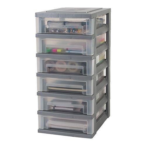 Iris Ohyama, torre de almacenamiento con 6 cajones sobre ruedas - Smart Drawer Chest - SDC-360, plástico, la plata / transparente, 42 L, 29 x 39 x 62 cm
