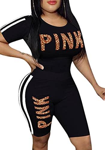 Conjunto de chándal de mujer con estampado de bloque de color casual, ropa de salón deportiva, camiseta de entrenamiento y pantalones cortos, traje de 2 piezas