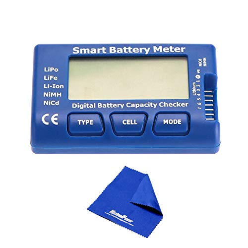 MaximalPower 5-in-1 Battery Meter, Intelligent Cell Meter Digital Battery Checker Battery Balancer for LiPo / LiFePO4 / Li-ion/NiCd/NiMH Battery Packs with Free Mircofiber Cloth