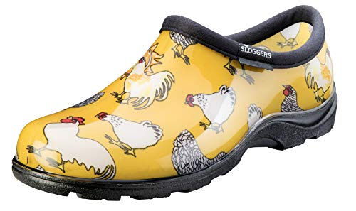 Sloggers Women's Waterproof Rain and Garden Shoe with Comfort Insole, Chickens Daffodil Yellow, Size 8, Style 5116CDY08