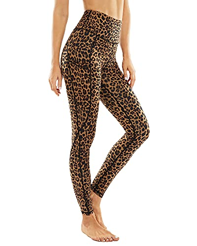 """G4Free Leopard Yoga Pants for Womens Non See-Through High Waisted Running Workout Leggings with Pockets 26"""" Inseam (Brown Leopard, XL)"""