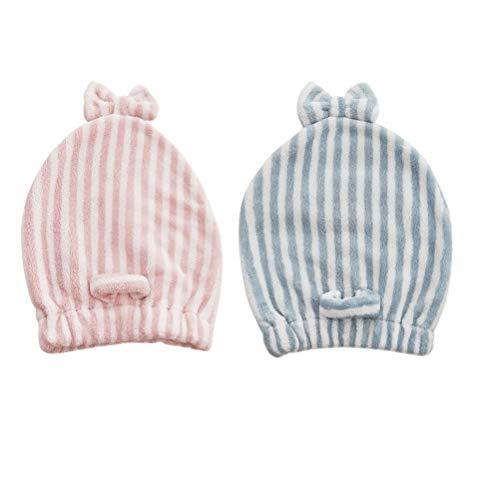 Frcolor 2pcs bonnet de séchage pour cheveux bonnet de douche en microfibre cheveux Turban Wrap avec noeud
